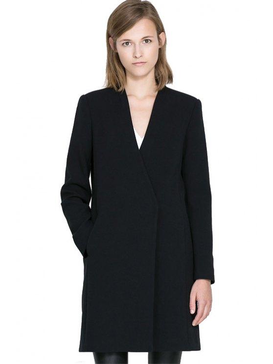 hot Black V-Neck Long Sleeve Coat - BLACK XS