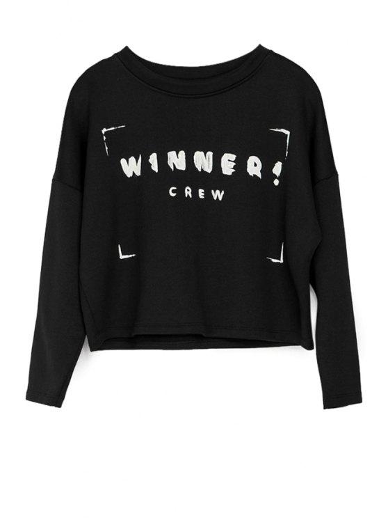 buy Letter Print 3/4 Sleeve Sweatshirt - BLACK XS
