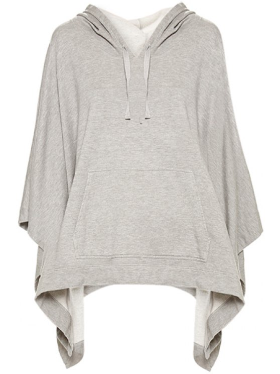 online Solid Color Front Pocket Hoodie - GRAY XS