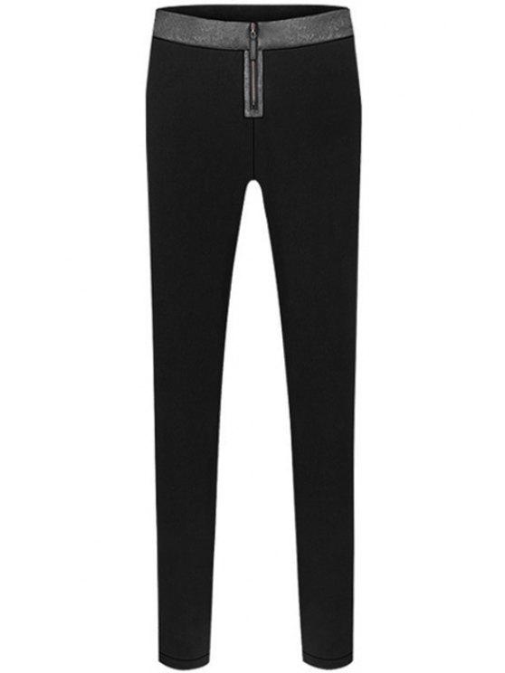 women's Color Block Flocking Pants - BLACK S