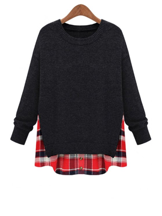 sale Plaid Splicing Faux Twinset Sweater - DEEP GRAY M