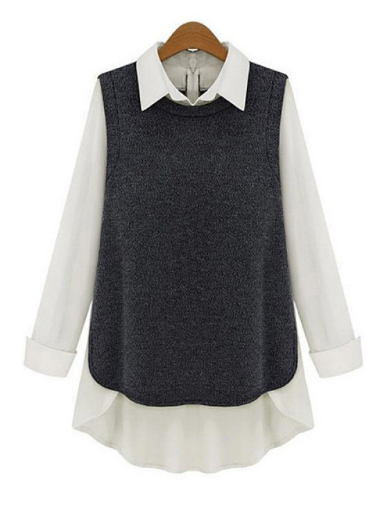 buy Shirt Collar Chiffon Splicing Blouse - DEEP GRAY S