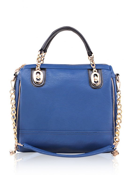 lady Zipper Chain Solid Color Tote Bag - BLUE