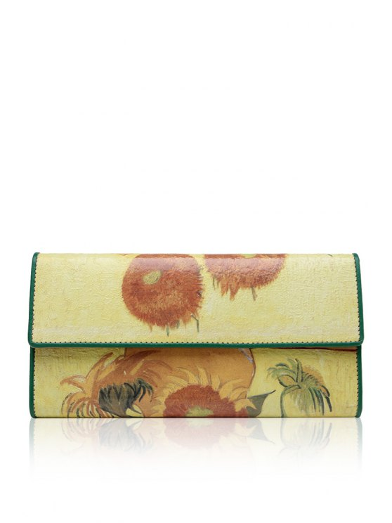 outfits Flowers PU Leather Clutch Wallet - YELLOW