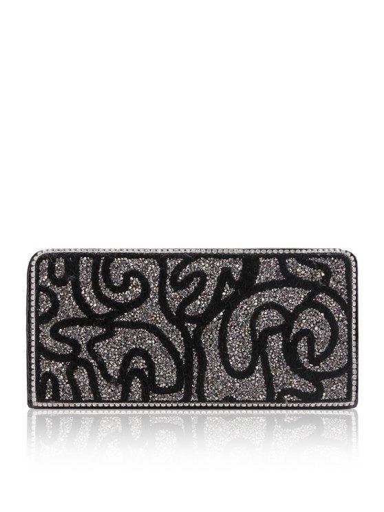 shop Sequined Rhinestones Zipper Clutch Wallet - BLACK