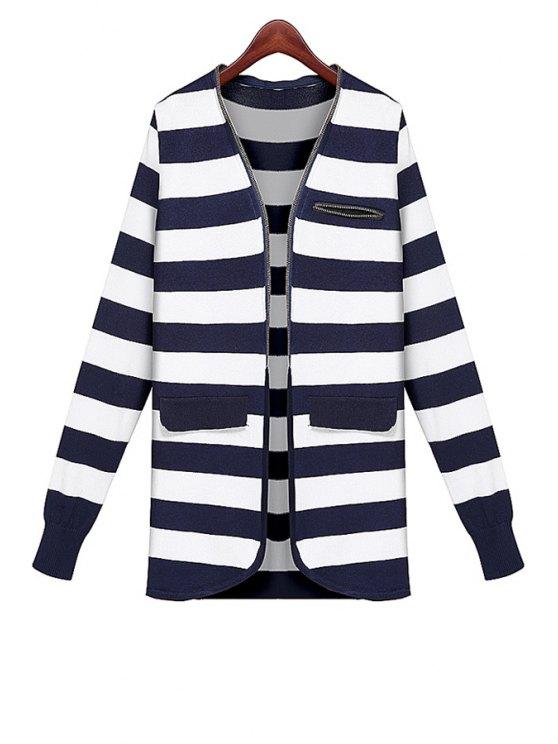 latest V-Neck Striped Pattern Cardigan - STRIPE ONE SIZE(FIT SIZE XS TO M)