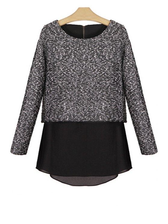 womens Chiffon Splicing Long Sleeve Knitwear - DEEP GRAY S