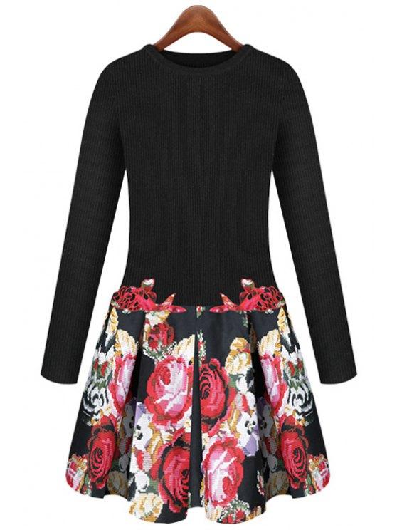 fancy Long Sleeve Floral Splicing Dress - COLORMIX S