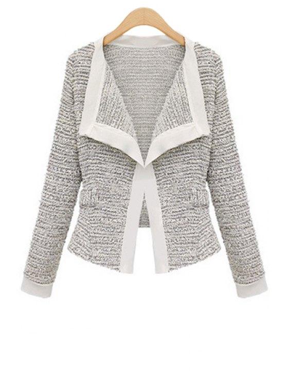 hot Turn-Down Collar Color Block Cardigan - WHITE S