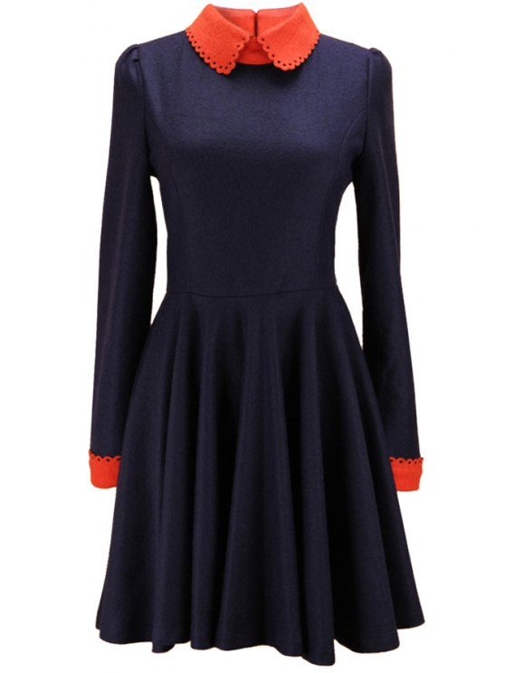affordable Color Block Peter Pan Neck Dress - DEEP BLUE S