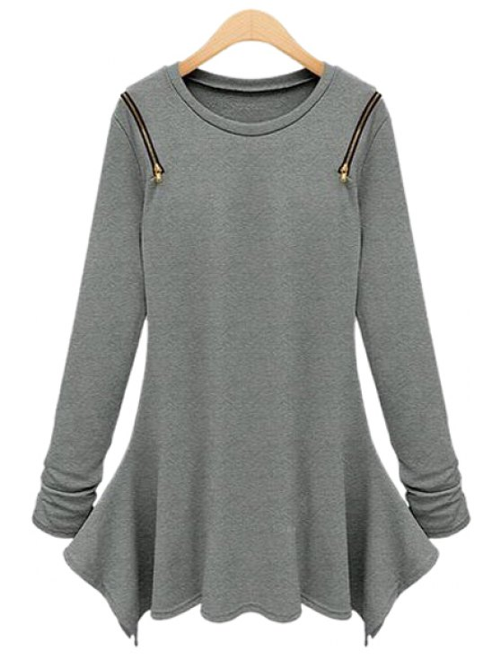 women Long Sleeve Solid Color Irregular T-Shirt - GRAY L
