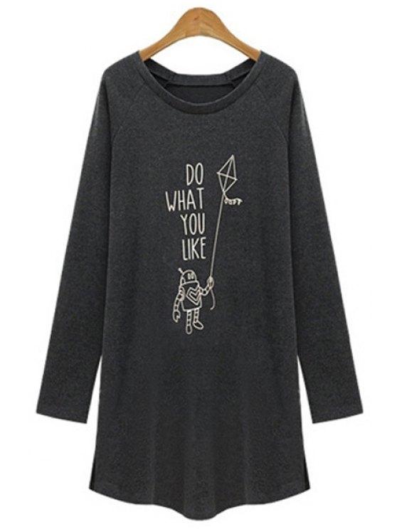 online Letter Print Long Sleeve Dress - DEEP GRAY S
