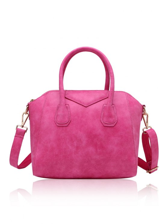 latest Suede Candy Color Zipper Tote Bag - ROSE MADDER