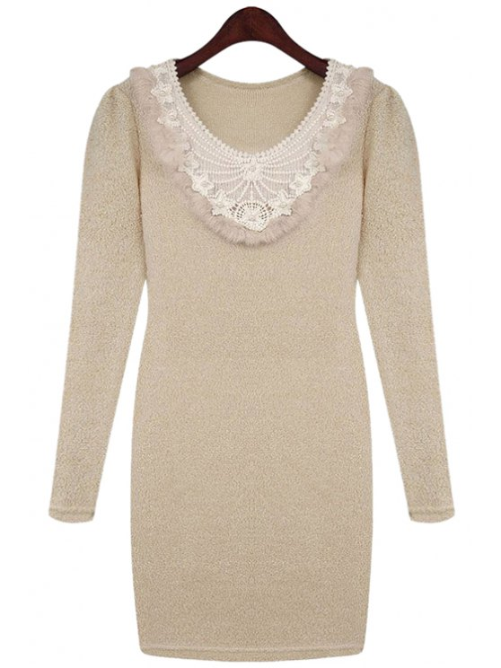 shops Crochet Splicing Sweater Dress - LIGHT APRICOT L