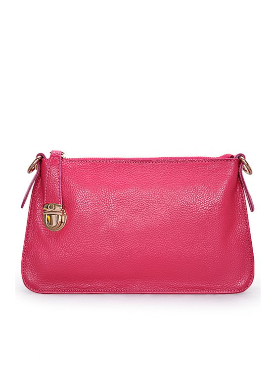 ladies Candy Color Hasp PU Leather Clutch Bag - ROSE MADDER