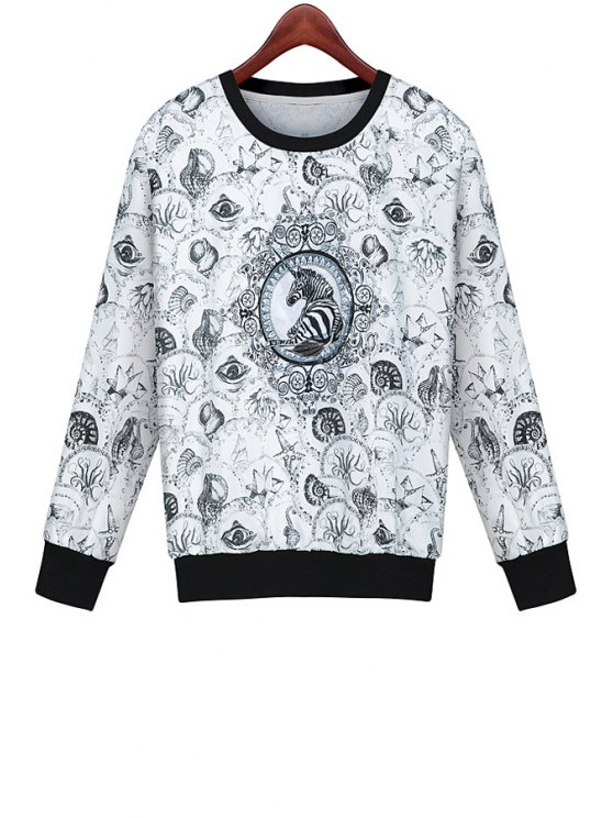 hot Print Long Sleeves Sweatshirt - WHITE AND BLACK S