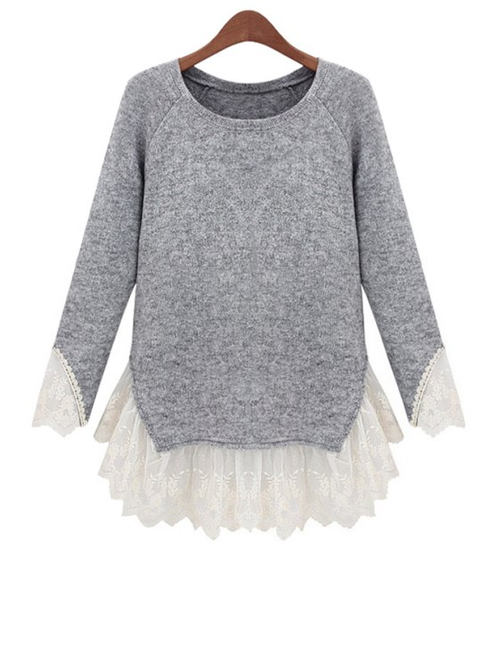 fashion Lace Splicing Long Sleeves Knitwear - GRAY S
