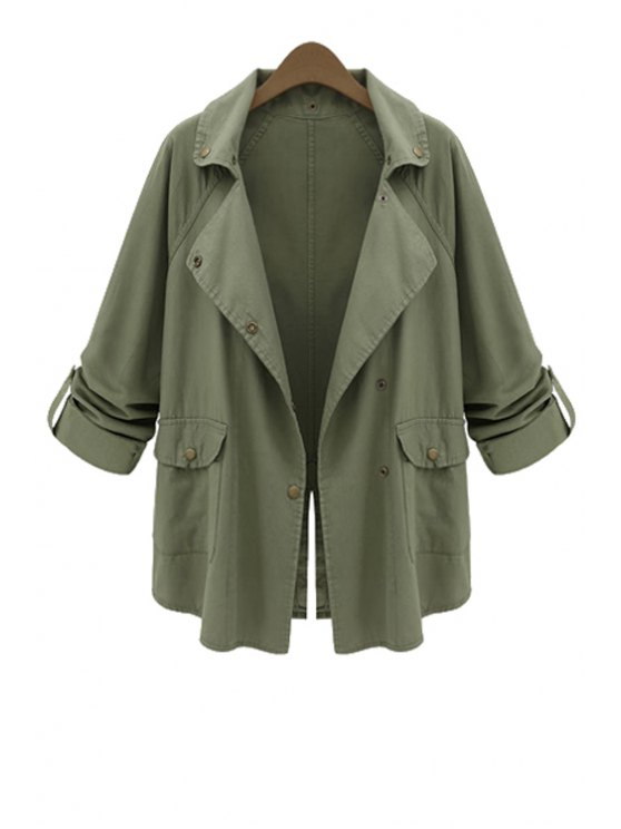 buy Solid Color Long Sleeves Trench Coat - ARMY GREEN S