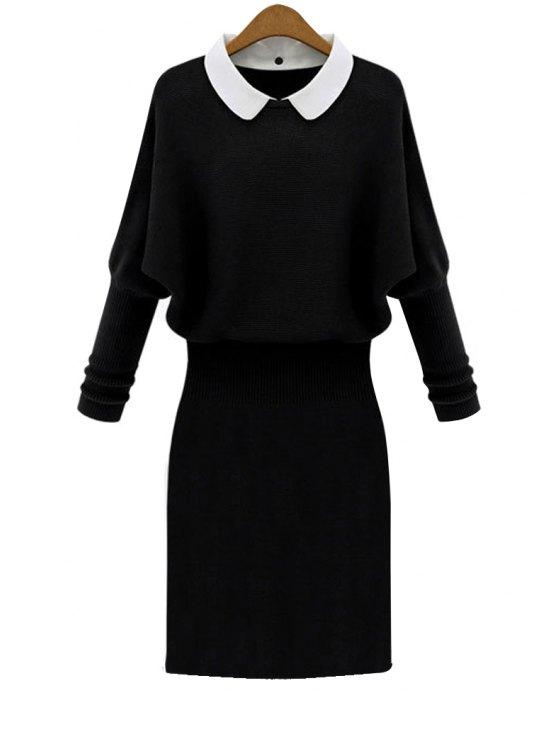 ladies Peter Pan Collar Sweater Dress - BLACK XL