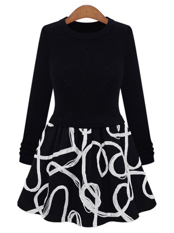 shops Long Sleeve String Splicing Dress - WHITE S