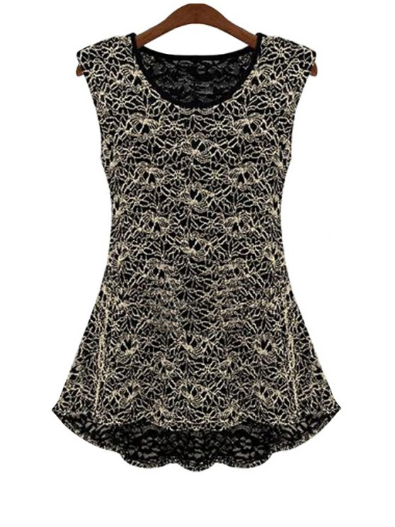 ladies Lace Flouncing Sleeveless Blouse - BLACK M