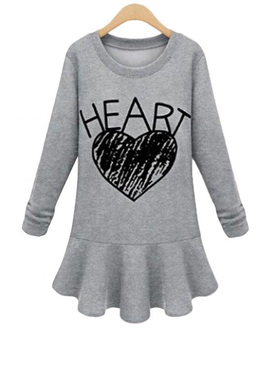 best Heart Print Ruffles Splicing Dress - GRAY M