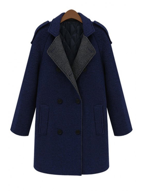 best Hooded Color Block Worsted Coat - DEEP BLUE M