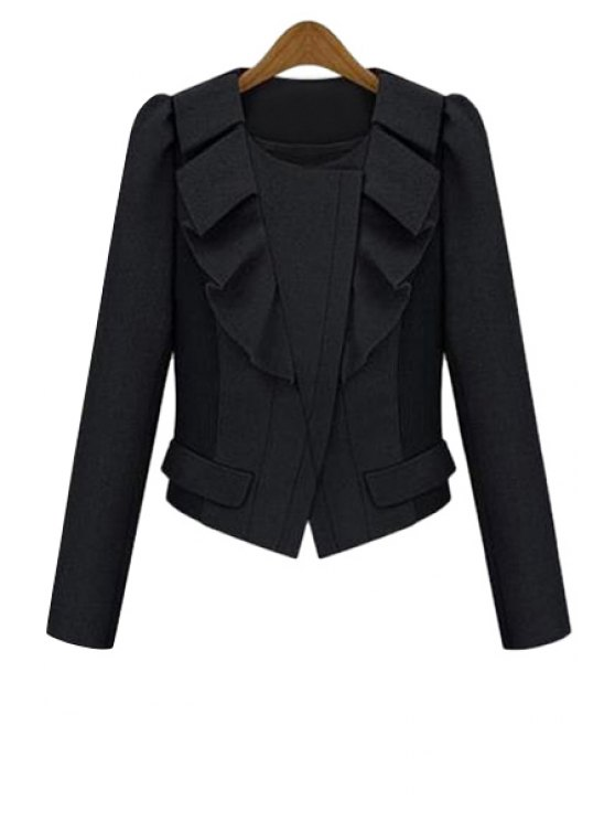 womens Ruffles Splicing Long Sleeve Jacket - BLACK S