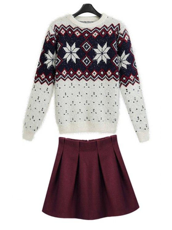 lady Geometric Sweater and Solid Color Skirt Suit - RED WITH WHITE S