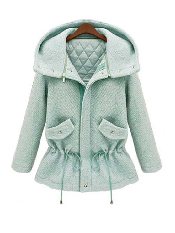 lady Hooded Solid Color Drawstring Coat - GREEN M