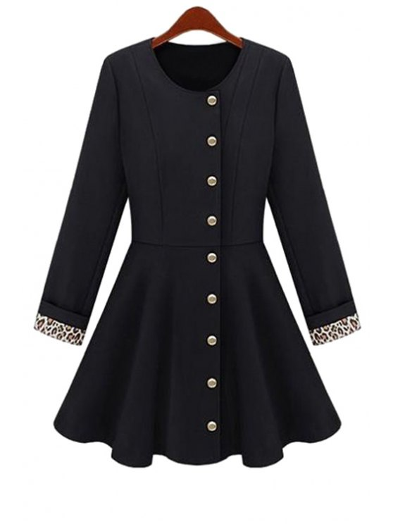 latest Solid Color Long Sleeve A-Line Coat - BLACK S