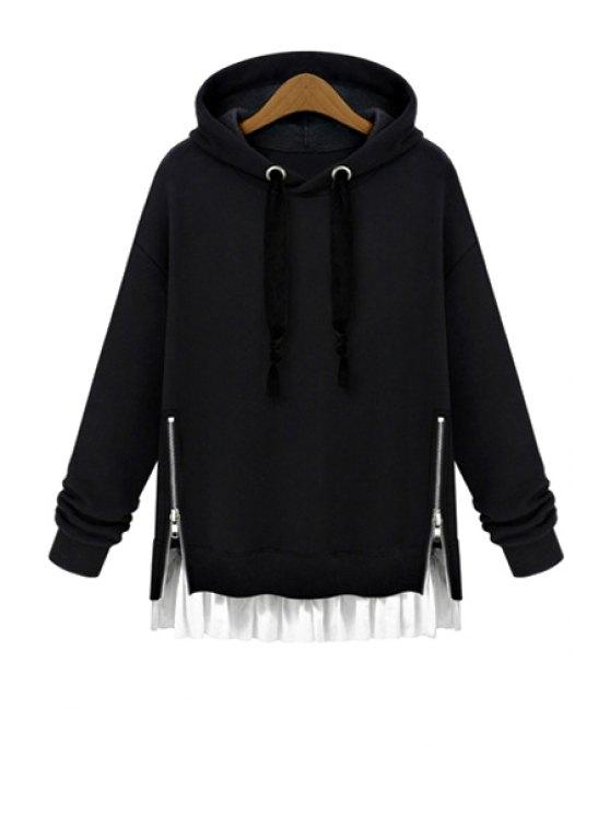best Hooded Ruffles Splicing Zipper Hoodie - BLACK S