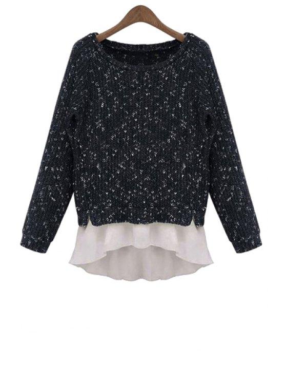 buy Long Sleeve Ruffles Splicing Sweater - BLACK S