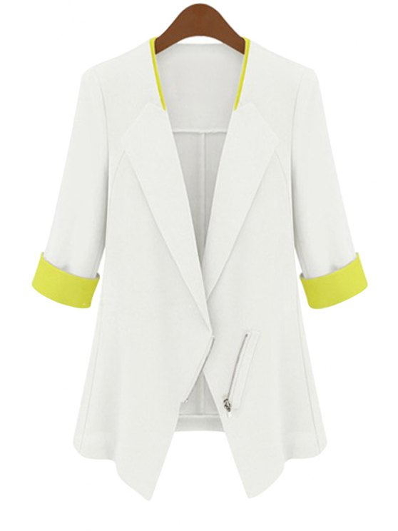 womens Half Sleeve Color Block Blazer - WHITE S