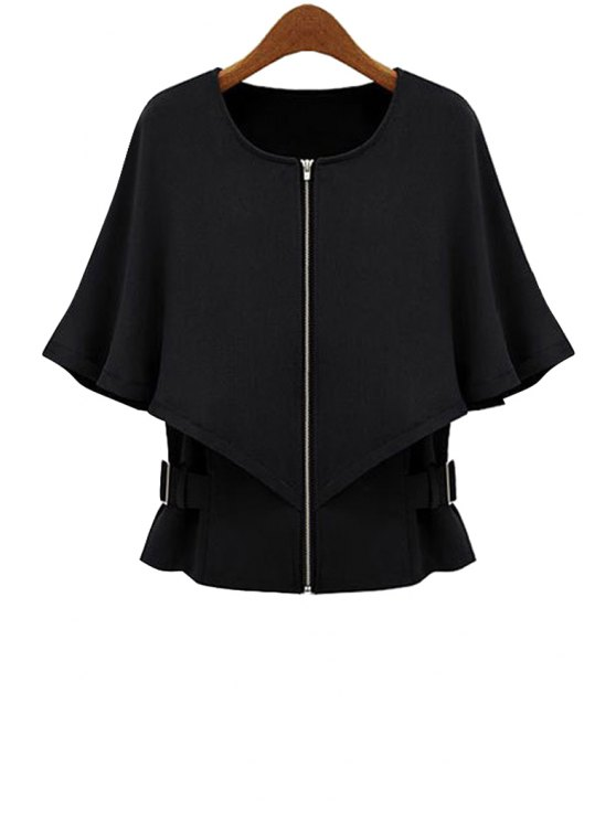fancy Cape-Style Solid Color Coat - BLACK S