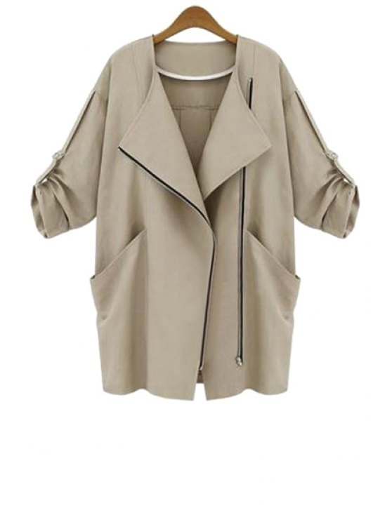 women 3/4 Sleeve Solid Color Trench Coat - KHAKI M