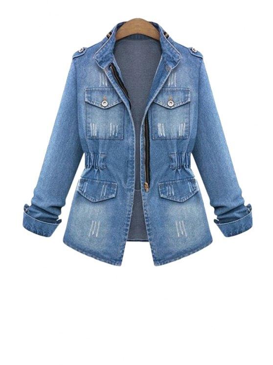 shop Blue Denim Long Sleeve Coat - LIGHT BLUE S