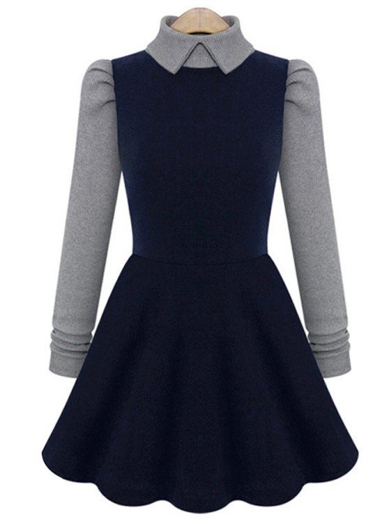 women Color Block Long Sleeve A-Line Dress - CADETBLUE S