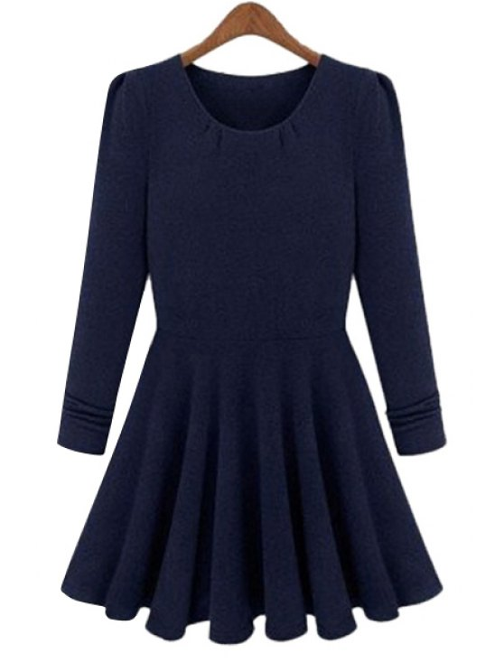 new Solid Color Long Sleeves A-Line Dress - BLUE L