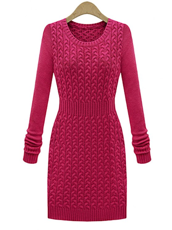 new Solid Color Bodycon Sweater Dress - PLUM S