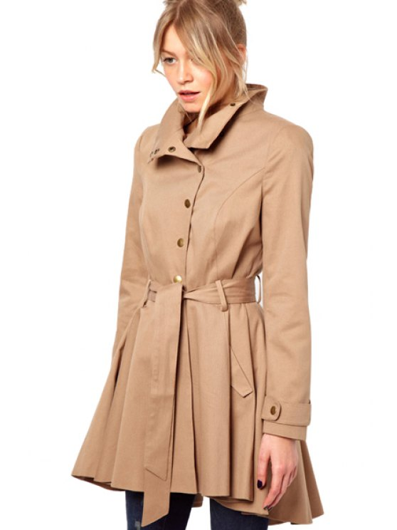 lady Solid Color Self-Tie Trench Coat - CAMEL XS