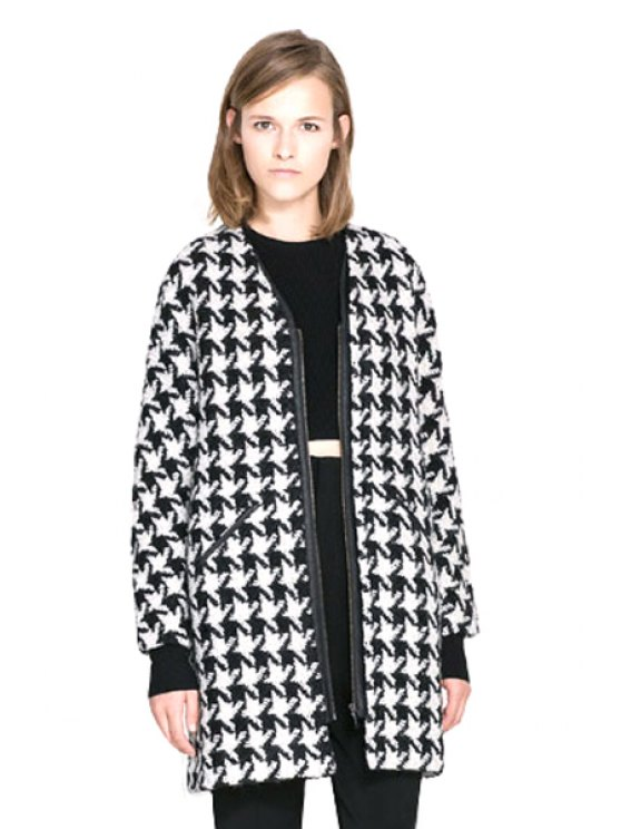 womens Houndstooth Long Sleeve Coat - WHITE AND BLACK XS