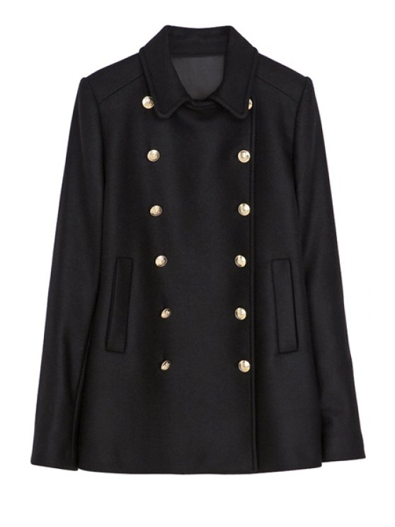 women Lapel Black Double-Breasted Coat - BLACK XS
