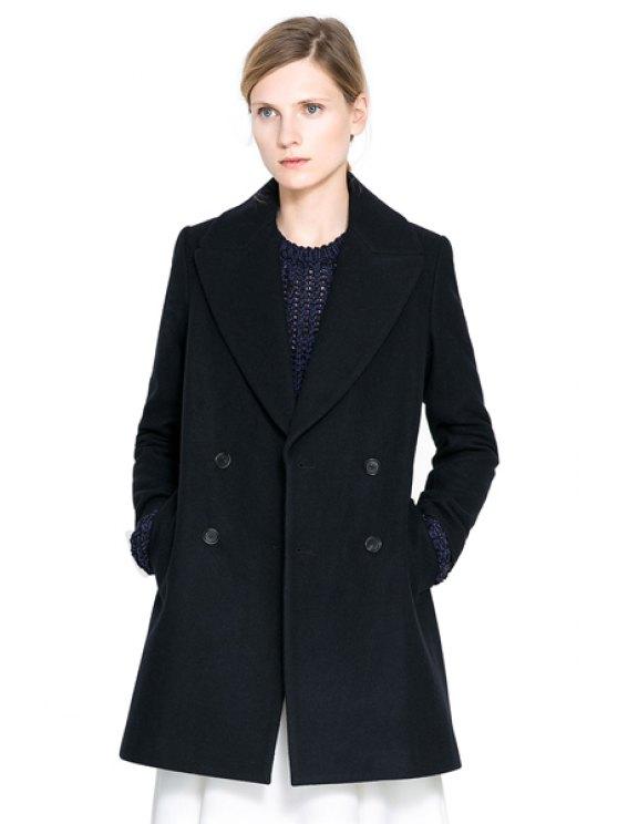 shop Turn-Down Collar Black Coat - BLACK XS