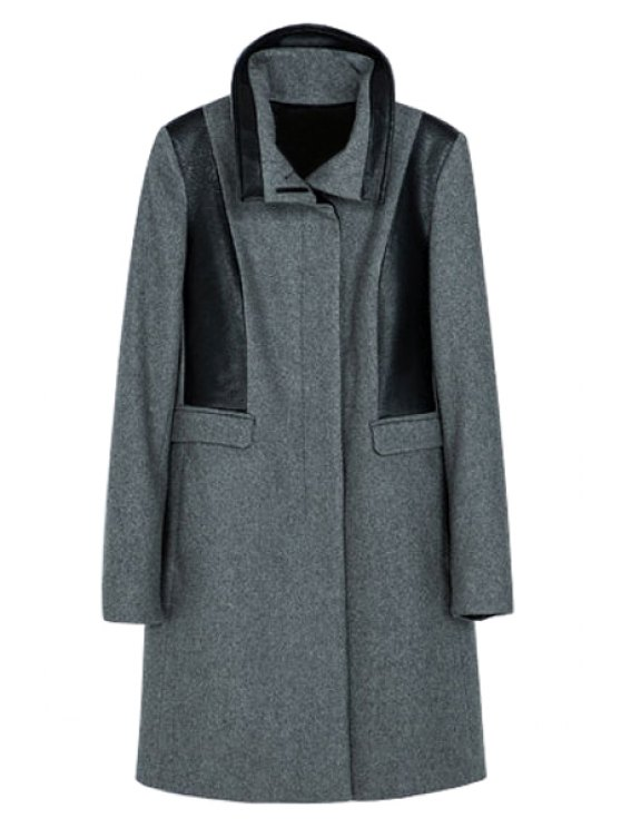 sale PU Leather Splicing Coat - GRAY XS
