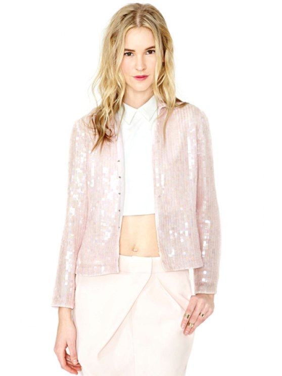 shops Sequins Turn-Down Collar Jacket - WHITE XS