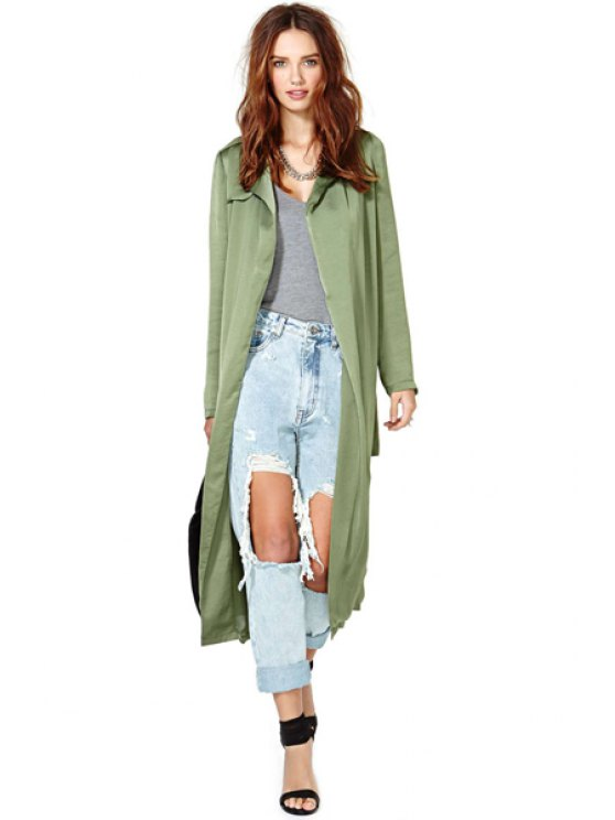 hot Lapel Solid Color Trench Coat - ARMY GREEN XS