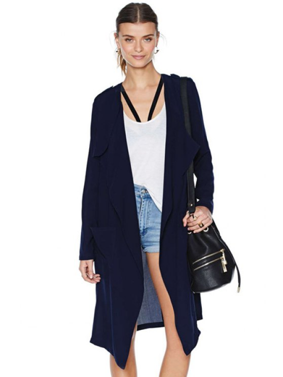 chic Solid Color Epaulet Trench Coat - NAVY BLUE XS