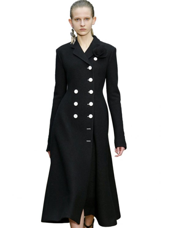 chic Lapel Double-Breasted Black Coat - BLACK XS