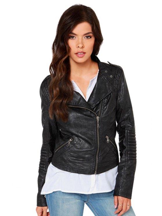 online Solid Color PU Leather Jacket - BLACK XS